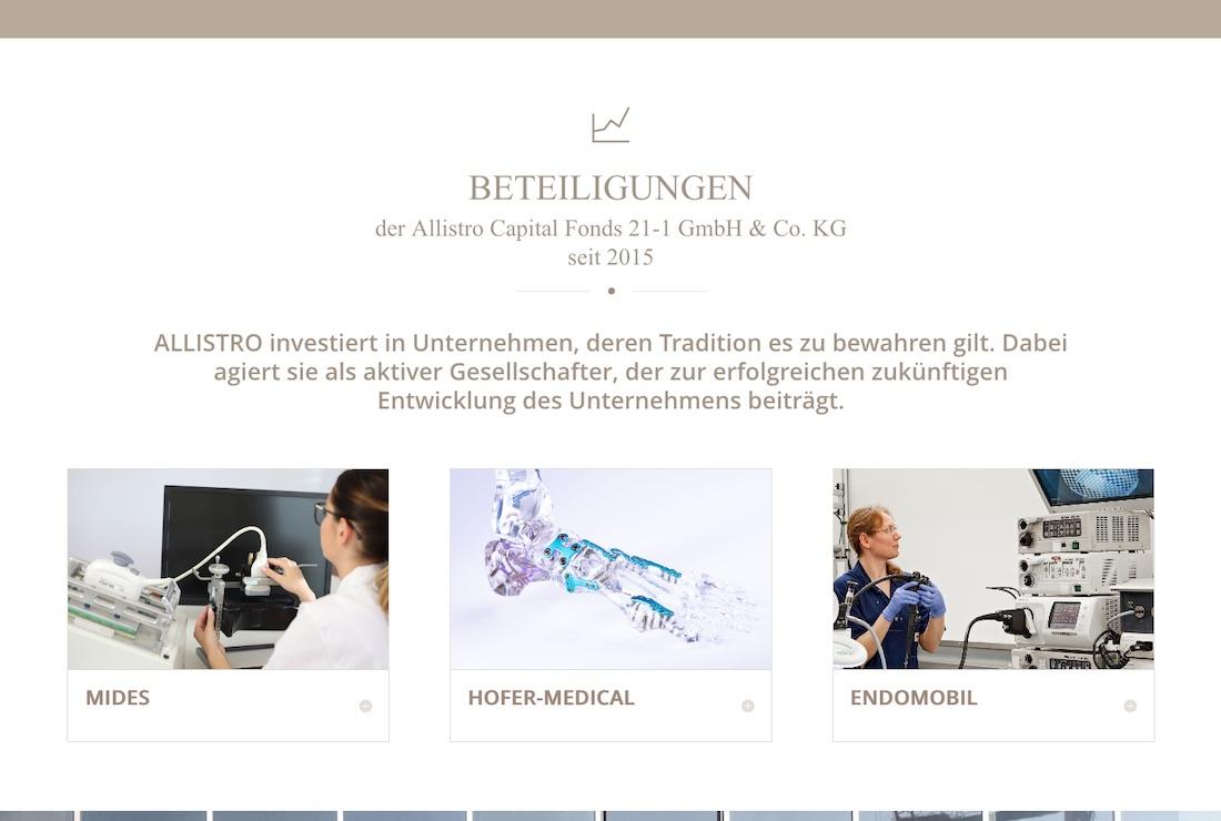 Allistro: Unternehmenswebsite Ausschnitt von Homepage – Beteiligungen
